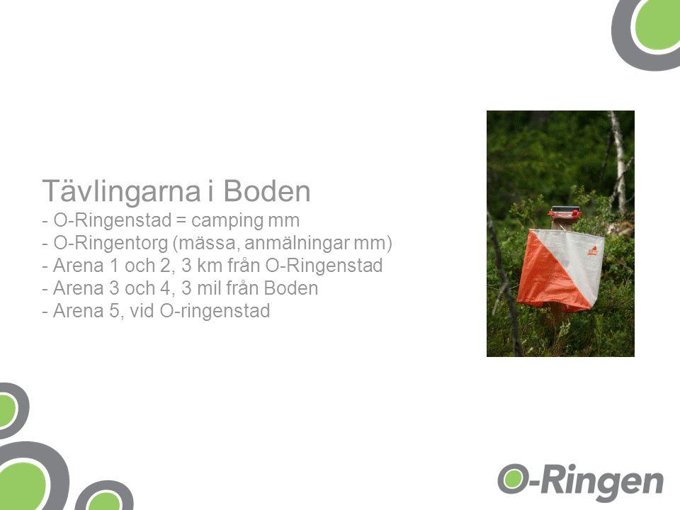 Tävlingarna i Boden - O-Ringenstad = camping mm - O-Ringentorg (mässa, anmälningar mm) - Arena 1 och 2, 3 km från O-Ringenstad - Arena 3 och 4, 3 mil från Boden - Arena 5, vid O-ringenstad