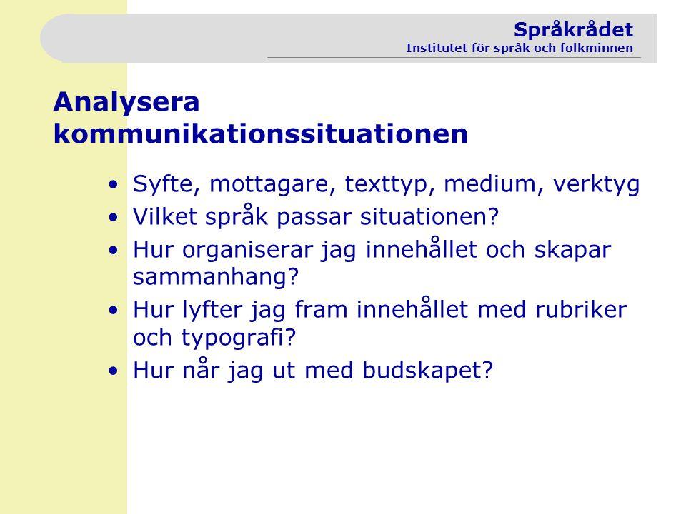 Språkrådet Institutet för språk och folkminnen Analysera kommunikationssituationen Syfte, mottagare, texttyp, medium, verktyg Vilket språk passar situ