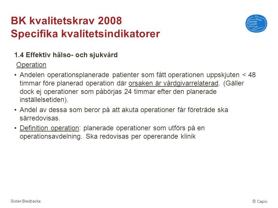Sixten Bredbacka © Capio BK kvalitetskrav 2008 Specifika kvalitetsindikatorer 1.4 Effektiv hälso- och sjukvård Operation Andelen operationsplanerade p