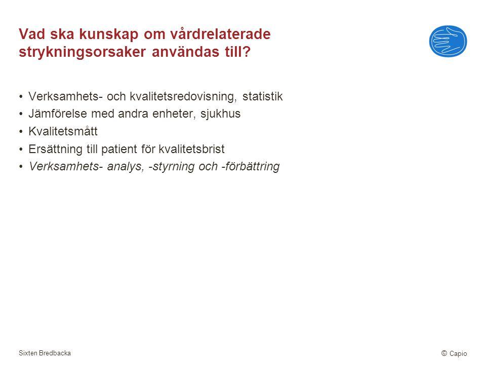 Sixten Bredbacka © Capio Vad ska kunskap om vårdrelaterade strykningsorsaker användas till? Verksamhets- och kvalitetsredovisning, statistik Jämförels