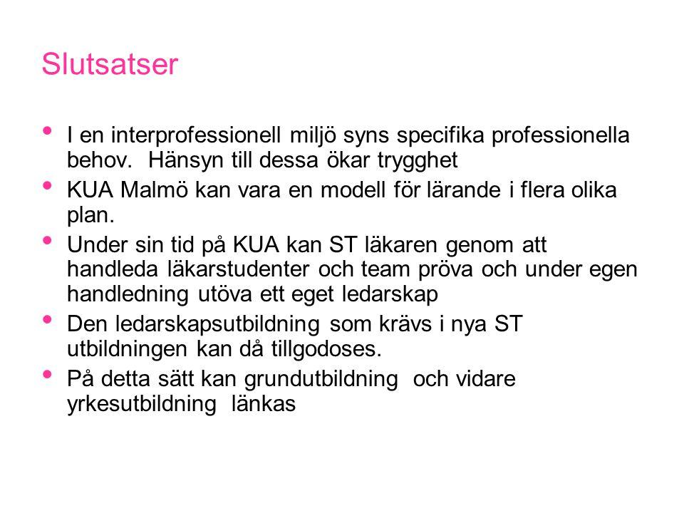 Slutsatser I en interprofessionell miljö syns specifika professionella behov. Hänsyn till dessa ökar trygghet KUA Malmö kan vara en modell för lärande