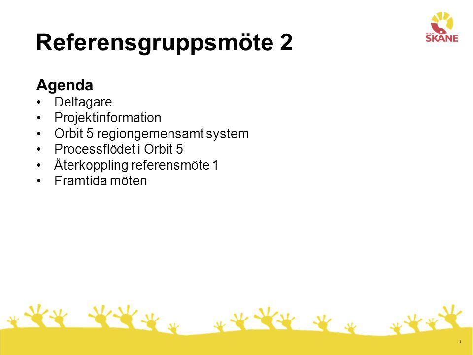 1 Referensgruppsmöte 2 Agenda Deltagare Projektinformation Orbit 5 regiongemensamt system Processflödet i Orbit 5 Återkoppling referensmöte 1 Framtida