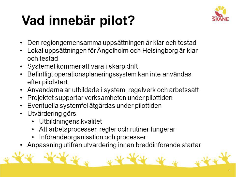 3 Vad innebär pilot? Den regiongemensamma uppsättningen är klar och testad Lokal uppsättningen för Ängelholm och Helsingborg är klar och testad System