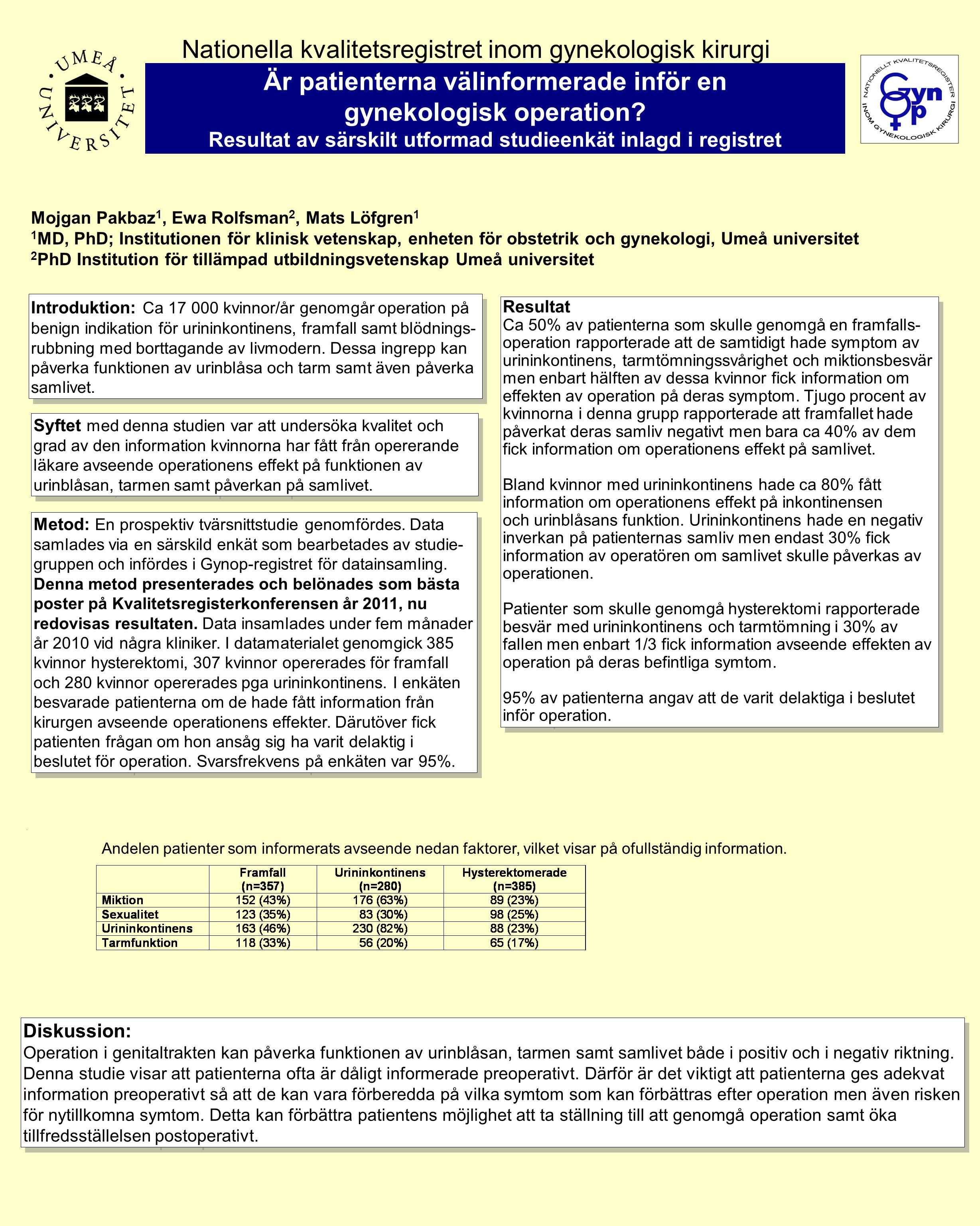 Diskussion: Operation i genitaltrakten kan påverka funktionen av urinblåsan, tarmen samt samlivet både i positiv och i negativ riktning. Denna studie