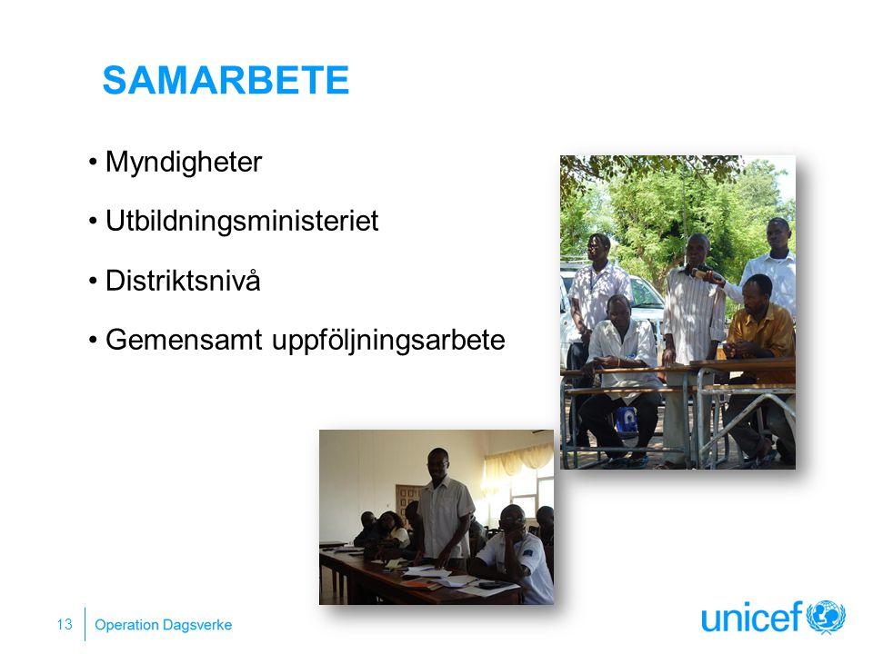 13 Myndigheter Utbildningsministeriet Distriktsnivå Gemensamt uppföljningsarbete SAMARBETE