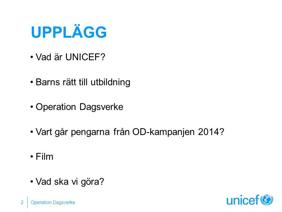 UNICEF UNITED NATIONS INTERNATIONAL CHILDREN'S (EMERGENCY) FUND FN:s barnfond, bildades 1946 Finns i nästan alla länder Barnkonventionen som grund Operation Dagsverke 3