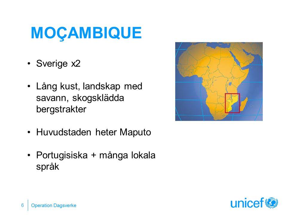 MOÇAMBIQUE 6 Sverige x2 Lång kust, landskap med savann, skogsklädda bergstrakter Huvudstaden heter Maputo Portugisiska + många lokala språk