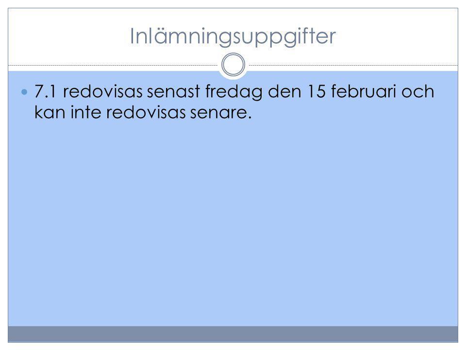 Inlämningsuppgifter 7.1 redovisas senast fredag den 15 februari och kan inte redovisas senare.
