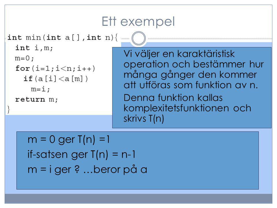 Ett exempel Vi väljer en karaktäristisk operation och bestämmer hur många gånger den kommer att utföras som funktion av n. Denna funktion kallas kompl