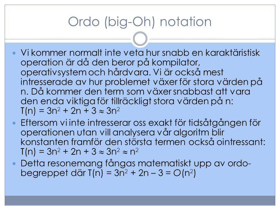Ordo (big-Oh) notation Vi kommer normalt inte veta hur snabb en karaktäristisk operation är då den beror på kompilator, operativsystem och hårdvara.