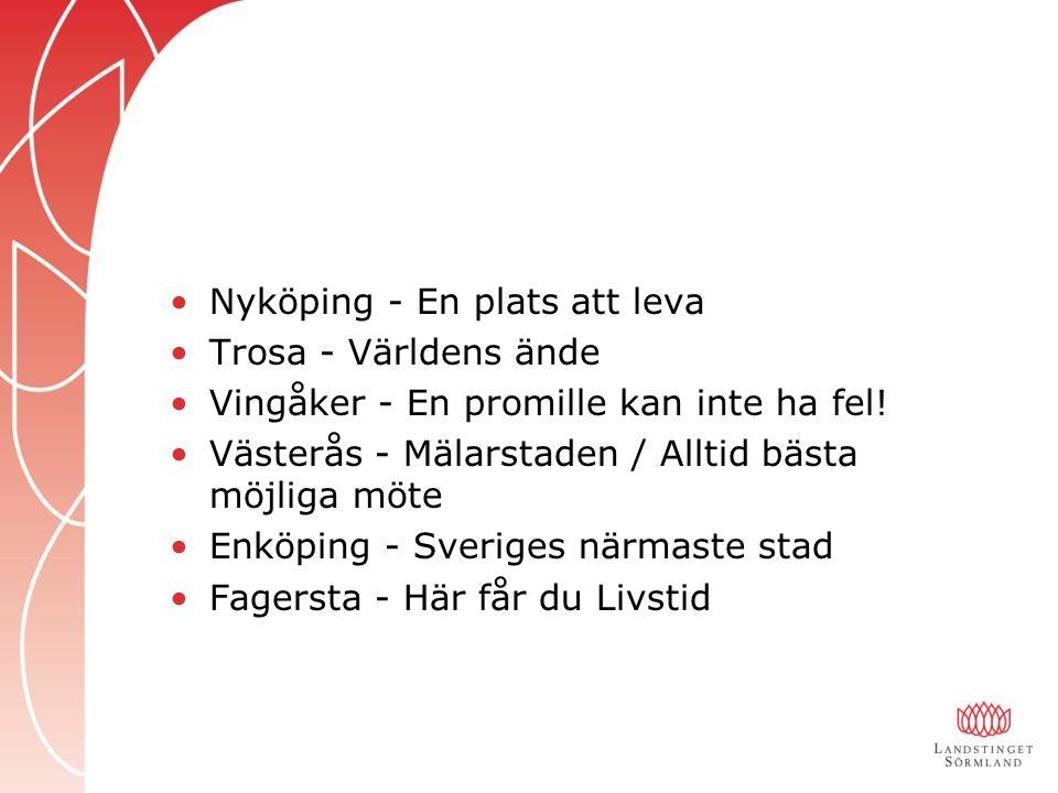 Nyköping - En plats att leva Trosa - Världens ände Vingåker - En promille kan inte ha fel.