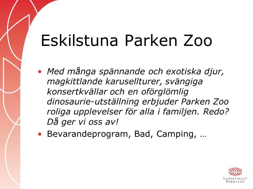 Eskilstuna Parken Zoo Med många spännande och exotiska djur, magkittlande karusellturer, svängiga konsertkvällar och en oförglömlig dinosaurie-utställning erbjuder Parken Zoo roliga upplevelser för alla i familjen.