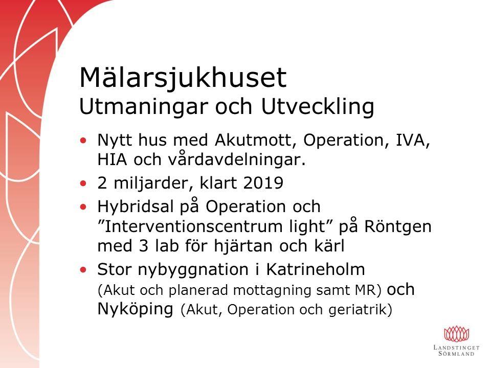Mälarsjukhuset Utmaningar och Utveckling Nytt hus med Akutmott, Operation, IVA, HIA och vårdavdelningar.