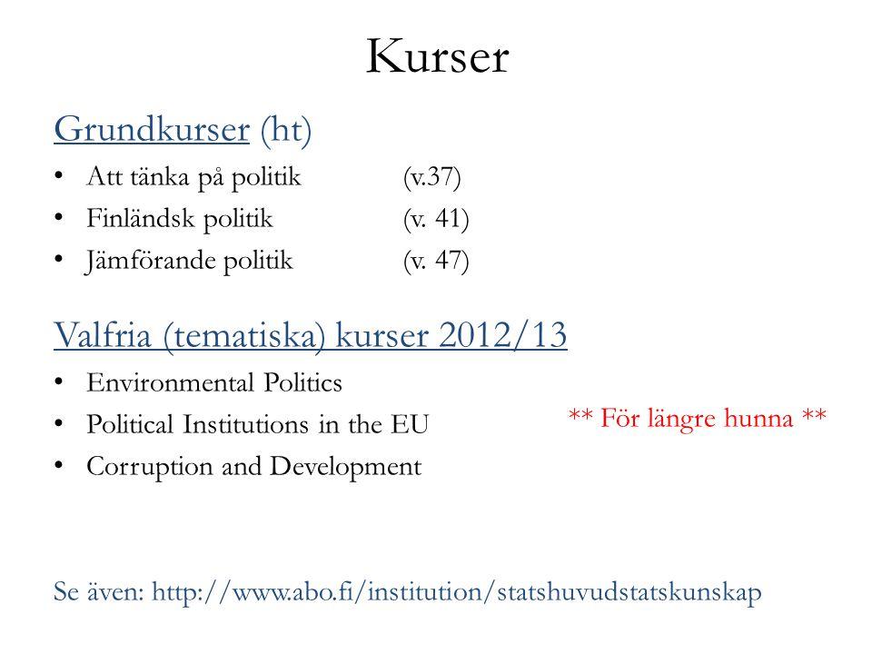 Kurser Grundkurser (ht) Att tänka på politik(v.37) Finländsk politik(v.