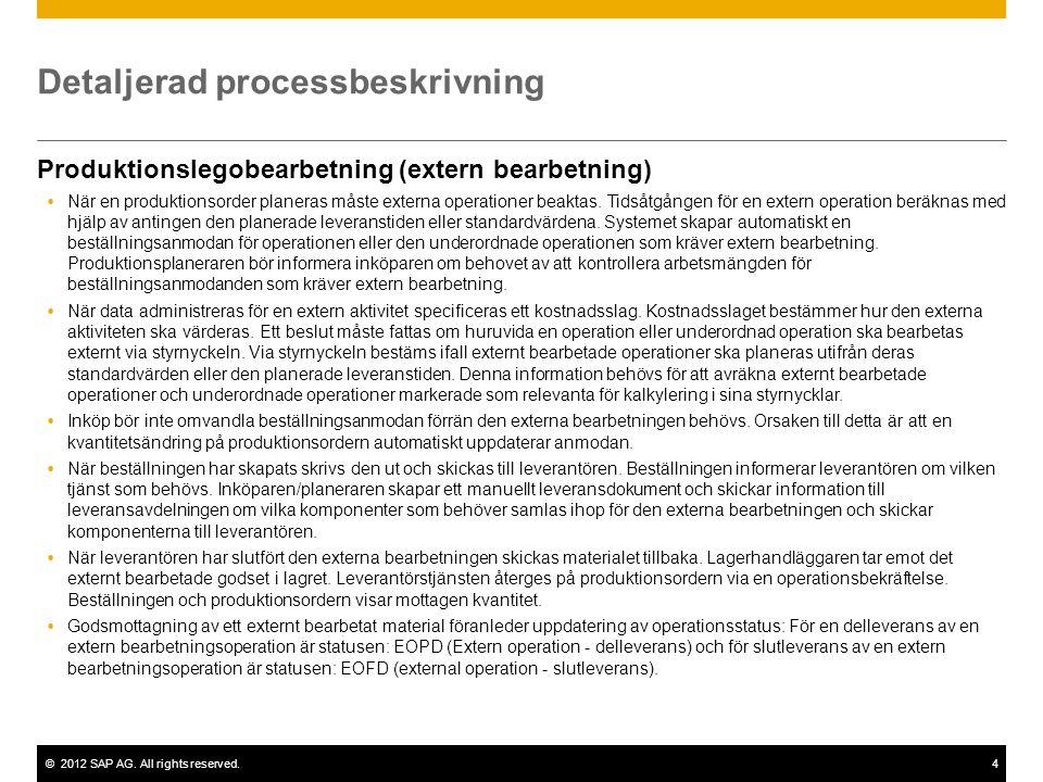 ©2012 SAP AG. All rights reserved.4 Detaljerad processbeskrivning Produktionslegobearbetning (extern bearbetning)  När en produktionsorder planeras m