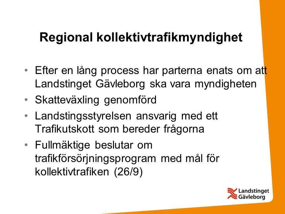 Regional kollektivtrafikmyndighet Efter en lång process har parterna enats om att Landstinget Gävleborg ska vara myndigheten Skatteväxling genomförd Landstingsstyrelsen ansvarig med ett Trafikutskott som bereder frågorna Fullmäktige beslutar om trafikförsörjningsprogram med mål för kollektivtrafiken (26/9)