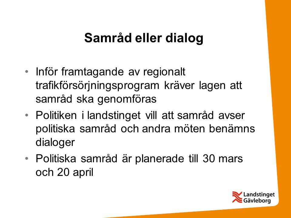 Samråd eller dialog Inför framtagande av regionalt trafikförsörjningsprogram kräver lagen att samråd ska genomföras Politiken i landstinget vill att samråd avser politiska samråd och andra möten benämns dialoger Politiska samråd är planerade till 30 mars och 20 april
