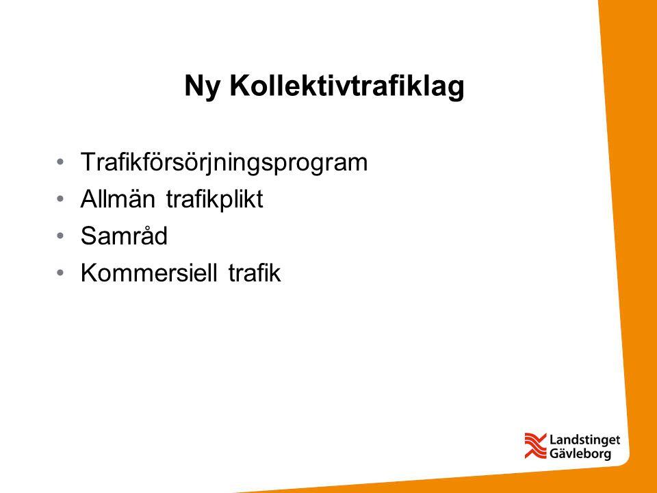 Ny Kollektivtrafiklag Trafikförsörjningsprogram Allmän trafikplikt Samråd Kommersiell trafik