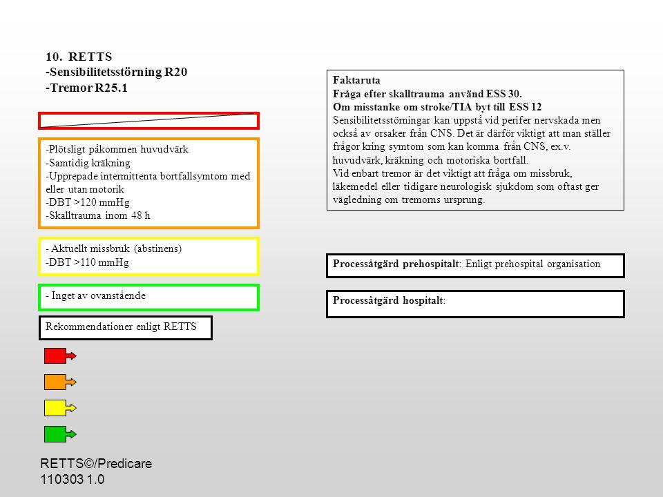 RETTS©/Predicare 110303 1.0 -Plötsligt påkommen huvudvärk -Samtidig kräkning -Upprepade intermittenta bortfallsymtom med eller utan motorik -DBT >120 mmHg -Skalltrauma inom 48 h - Aktuellt missbruk (abstinens) -DBT >110 mmHg - Inget av ovanstående Processåtgärd hospitalt: 10.