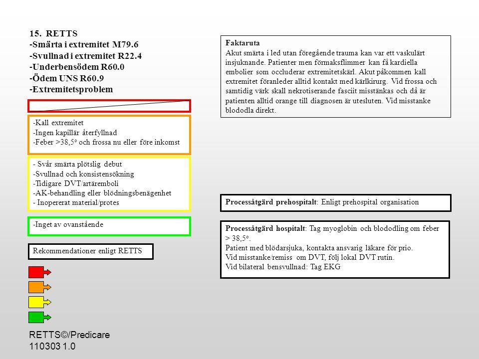 RETTS©/Predicare 110303 1.0 -Kall extremitet -Ingen kapillär återfyllnad -Feber >38,5 o och frossa nu eller före inkomst - Svår smärta plötslig debut -Svullnad och konsistensökning -Tidigare DVT/artäremboli -AK-behandling eller blödningsbenägenhet - Inopererat material/protes -Inget av ovanstående Processåtgärd hospitalt: Tag myoglobin och blododling om feber > 38,5 o.