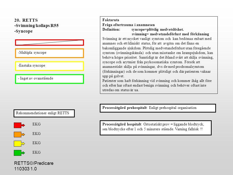 RETTS©/Predicare 110303 1.0 -Multipla syncope -Enstaka syncope - Inget av ovanstående Processåtgärd hospitalt: Ortostatiskt prov = liggande blodtryck, sen blodtrycke efter 1 och 5 minuters stående.