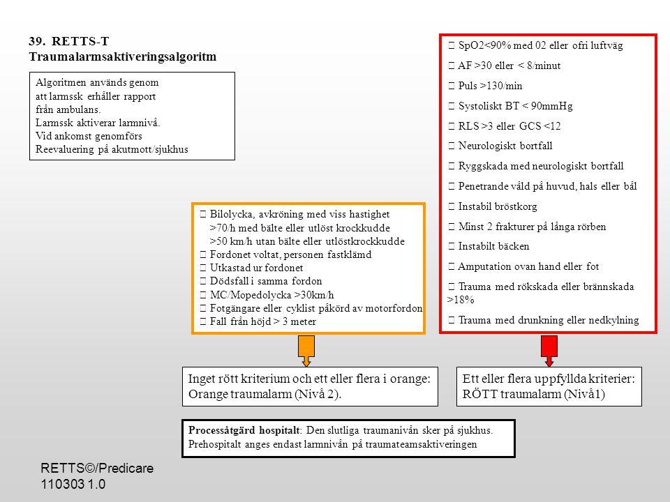 RETTS©/Predicare 110303 1.0  SpO2<90% med 02 eller ofri luftväg  AF >30 eller < 8/minut  Puls >130/min  Systoliskt BT < 90mmHg  RLS >3 eller GCS <12  Neurologiskt bortfall  Ryggskada med neurologiskt bortfall  Penetrande våld på huvud, hals eller bål  Instabil bröstkorg  Minst 2 frakturer på långa rörben  Instabilt bäcken  Amputation ovan hand eller fot  Trauma med rökskada eller brännskada >18%  Trauma med drunkning eller nedkylning 39.