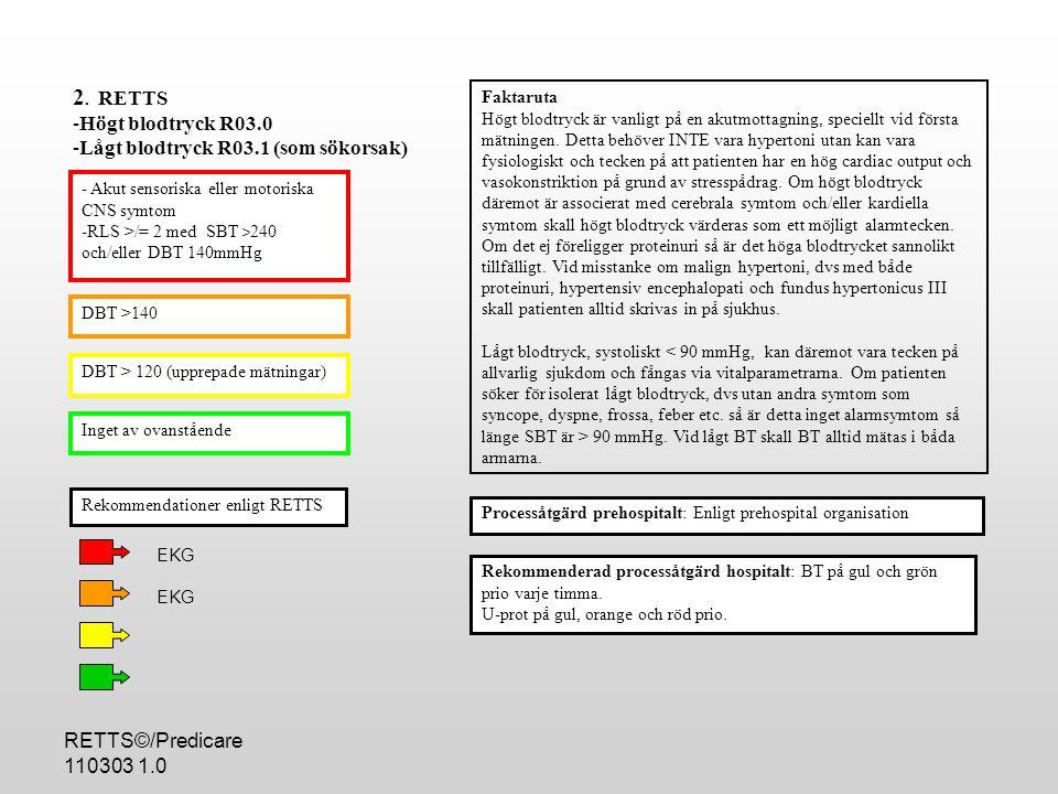 RETTS©/Predicare 110303 1.0 - TNI >0.15 - TNI >0.10-0.15+bröstsmärta - Hb < 70 - S-Na <125 - S-K > 5.5 eller <2,7 - P-glukos 25 - Laktat >5.0 - CRP>200 - PK-INR >3.0 - Paracetamol > referens för antidotbehandling Processåtgärd hospitalt: Patienter som erhållit prioritetsnivå GUL eller lägre och provsvar visar avvikande värde enligt ESS 70 skall upprioriteras till ORANGE.
