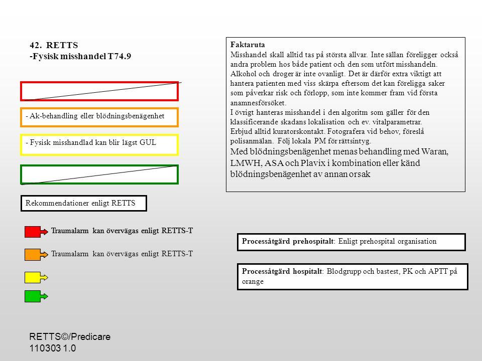 RETTS©/Predicare 110303 1.0 - Fysisk misshandlad kan blir lägst GUL - Ak-behandling eller blödningsbenägenhet Processåtgärd hospitalt: Blodgrupp och bastest, PK och APTT på orange 42.