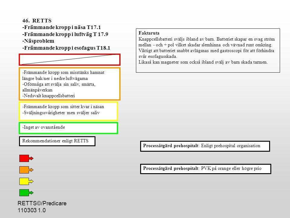 RETTS©/Predicare 110303 1.0 -Främmande kropp som misstänks hamnat längre bak/ner i nedre luftvägarna -Oförmåga att svälja sin saliv, smärta, allmänpåverkan -Nedsvalt knappcellsbatteri -Främmande kropp som sitter kvar i näsan -Sväljningssvårigheter men sväljer saliv -Inget av ovanstående Processåtgärd prehospitalt: PVK på orange eller högre prio 46.