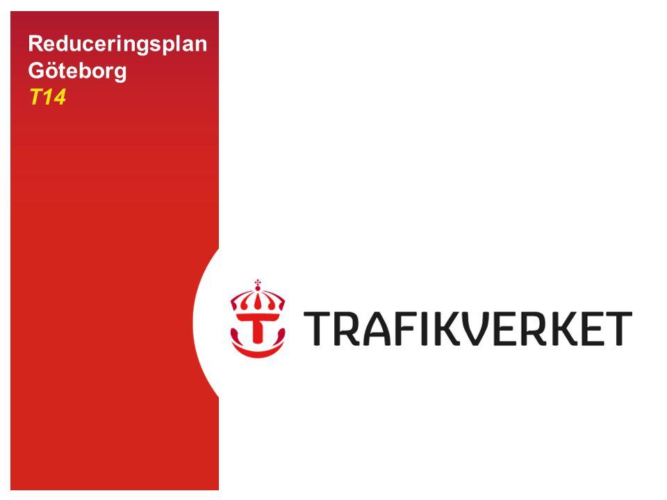 22014-08-21 Infrastruktur Reducering grön Normal trafik Reducering gul Mindre störning Reducering orange Större störning Reducering röd Stopp i tågtrafiken Trafikering enligt tågplan, men smärre förseningar kan förekomma Trafikering enligt tågplan, men med vissa störningar som förväntas förekomma en längre tid Allvarlig typ av störning, trafikering enligt tågplan kan ej ske på en eller flera sträckor.