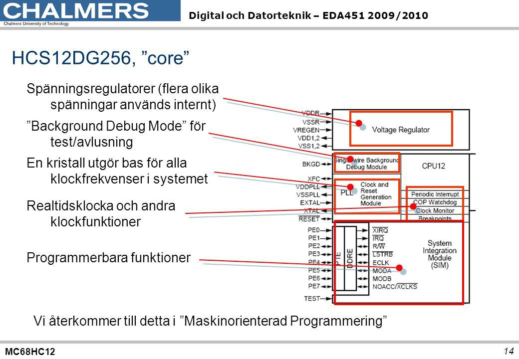 MC68HC12 Digital och Datorteknik – EDA451 2009/2010 14 HCS12DG256, core Spänningsregulatorer (flera olika spänningar används internt) Background Debug Mode för test/avlusning En kristall utgör bas för alla klockfrekvenser i systemet Realtidsklocka och andra klockfunktioner Programmerbara funktioner Vi återkommer till detta i Maskinorienterad Programmering