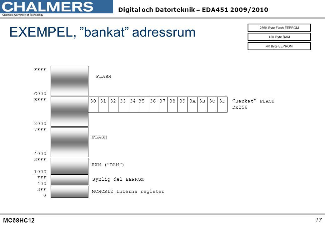 """MC68HC12 Digital och Datorteknik – EDA451 2009/2010 17 FFFF C000 BFFF 8000 7FFF 4000 3FFF 1000 FFF 400 3FF 0 30 3132 333435 3637 38393A3B3C3D FLASH """"B"""
