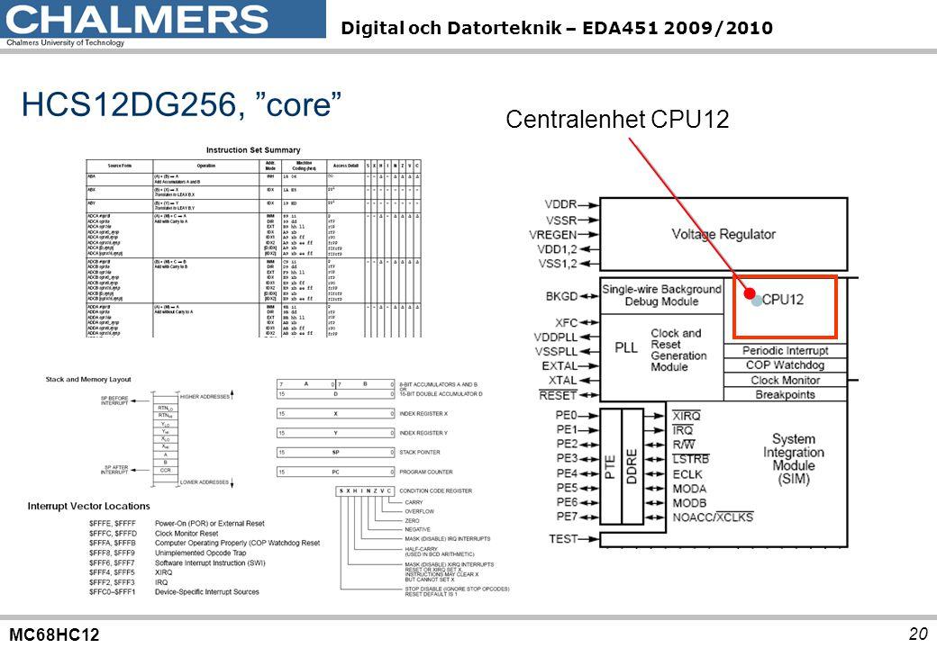 MC68HC12 Digital och Datorteknik – EDA451 2009/2010 20 HCS12DG256, core Centralenhet CPU12