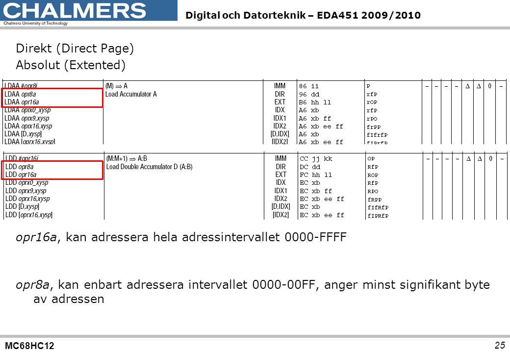 MC68HC12 Digital och Datorteknik – EDA451 2009/2010 25 Direkt (Direct Page) Absolut (Extented) opr8a, kan enbart adressera intervallet 0000-00FF, ange