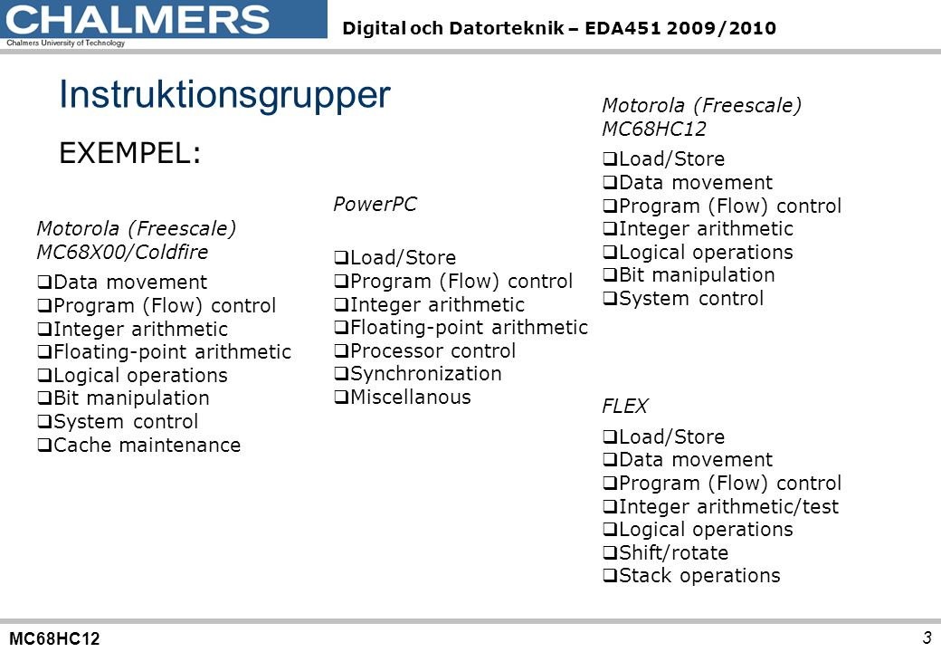 MC68HC12 Digital och Datorteknik – EDA451 2009/2010 Instruktionsgrupper 3 EXEMPEL: Motorola (Freescale) MC68X00/Coldfire  Data movement  Program (Fl