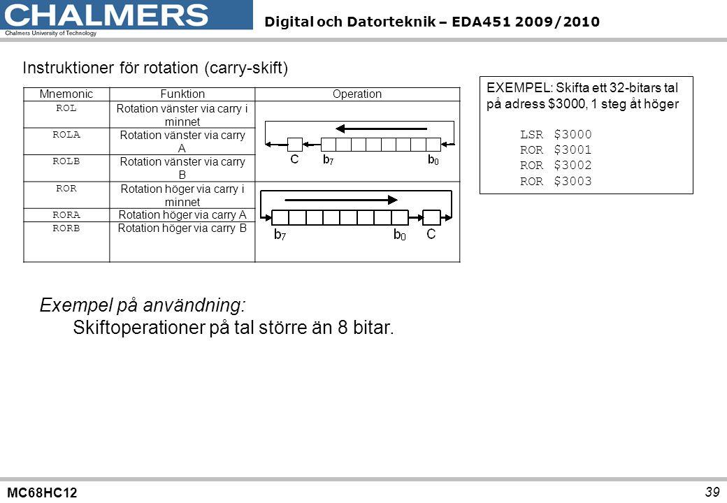 MC68HC12 Digital och Datorteknik – EDA451 2009/2010 39 Instruktioner för rotation (carry-skift) MnemonicFunktionOperation ROL Rotation vänster via car