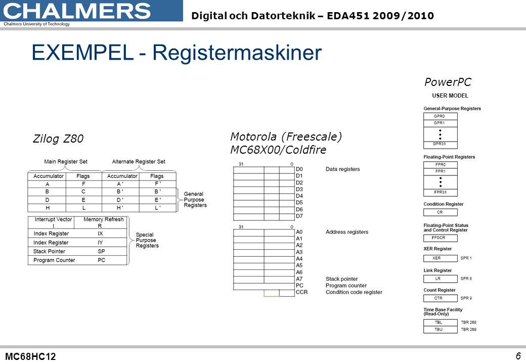 MC68HC12 Digital och Datorteknik – EDA451 2009/2010 17 FFFF C000 BFFF 8000 7FFF 4000 3FFF 1000 FFF 400 3FF 0 30 3132 333435 3637 38393A3B3C3D FLASH Bankat FLASH Dx256 RWM ( RAM ) Synlig del EEPROM MCHCS12 Interna register EXEMPEL, bankat adressrum