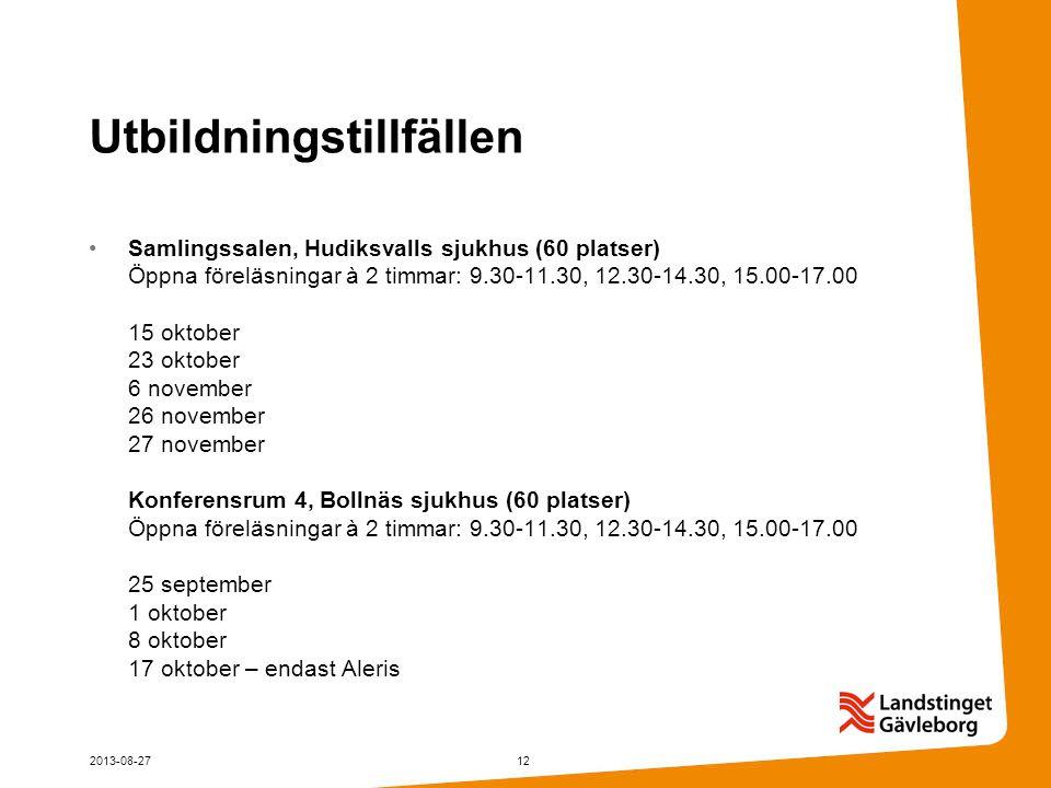 Utbildningstillfällen Samlingssalen, Hudiksvalls sjukhus (60 platser) Öppna föreläsningar à 2 timmar: 9.30-11.30, 12.30-14.30, 15.00-17.00 15 oktober 23 oktober 6 november 26 november 27 november Konferensrum 4, Bollnäs sjukhus (60 platser) Öppna föreläsningar à 2 timmar: 9.30-11.30, 12.30-14.30, 15.00-17.00 25 september 1 oktober 8 oktober 17 oktober – endast Aleris 2013-08-2712