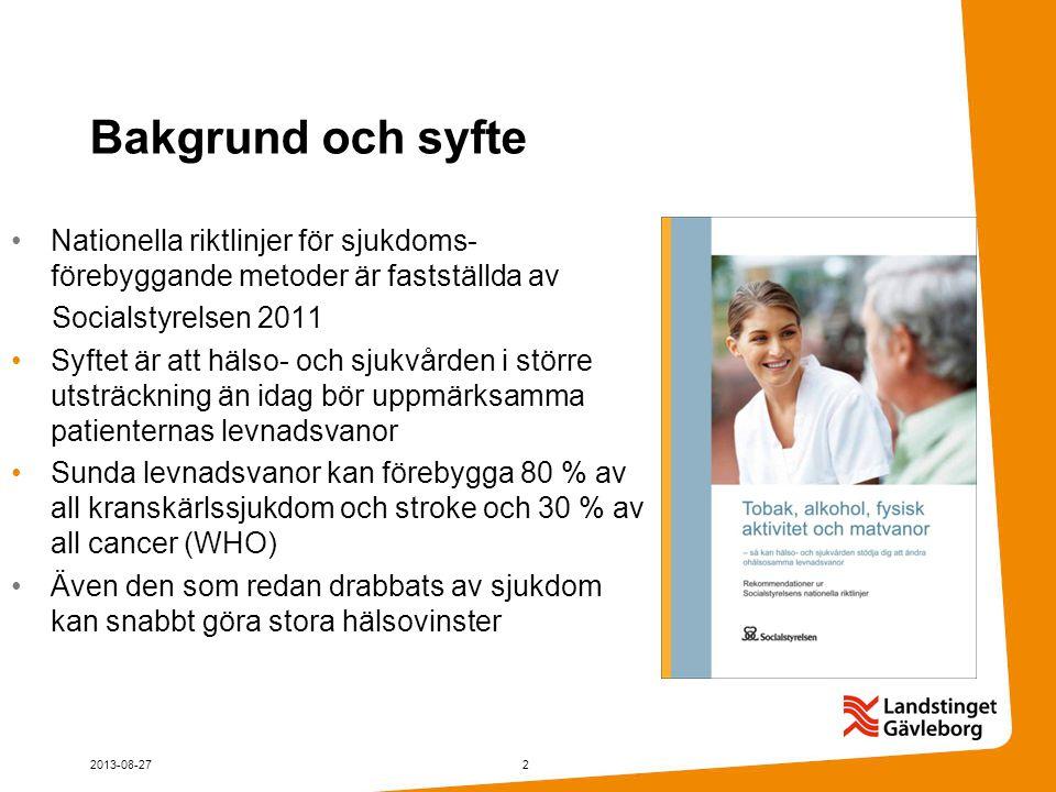 Bakgrund och syfte Nationella riktlinjer för sjukdoms- förebyggande metoder är fastställda av Socialstyrelsen 2011 Syftet är att hälso- och sjukvården i större utsträckning än idag bör uppmärksamma patienternas levnadsvanor Sunda levnadsvanor kan förebygga 80 % av all kranskärlssjukdom och stroke och 30 % av all cancer (WHO) Även den som redan drabbats av sjukdom kan snabbt göra stora hälsovinster 2013-08-272
