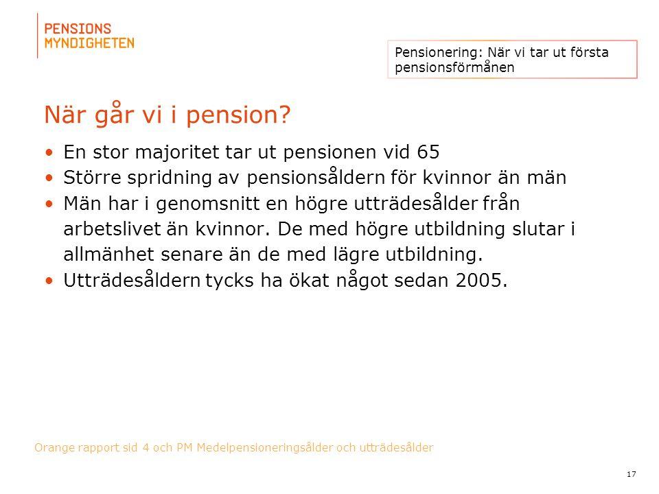 För att uppdatera sidfotstexten, gå till menyn: Visa/Sidhuvud och sidfot... När går vi i pension? En stor majoritet tar ut pensionen vid 65 Större spr