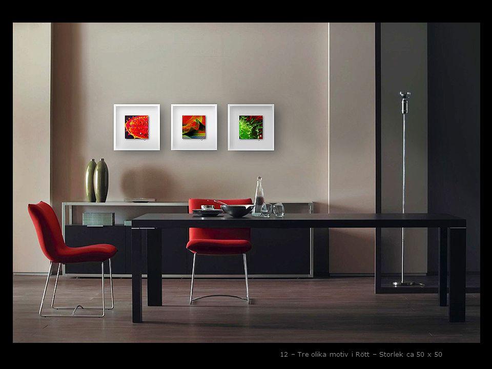12 – Tre olika motiv i Rött – Storlek ca 50 x 50