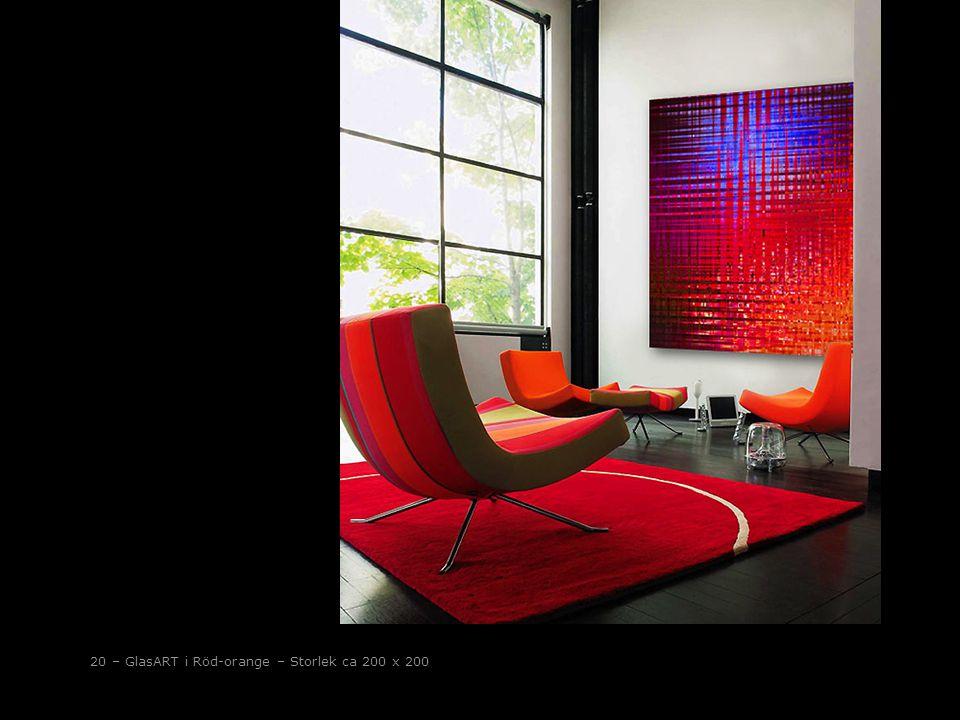 20 – GlasART i Röd-orange – Storlek ca 200 x 200