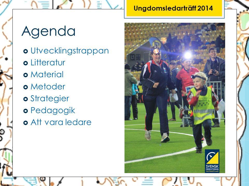 Agenda  Utvecklingstrappan  Litteratur  Material  Metoder  Strategier  Pedagogik  Att vara ledare Ungdomsledarträff 2014