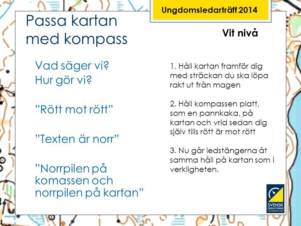 """Ungdomsledarträff 2014 Passa kartan med kompass Vad säger vi? Hur gör vi? """"Rött mot rött"""" """"Texten är norr"""" """"Norrpilen på komassen och norrpilen på kar"""