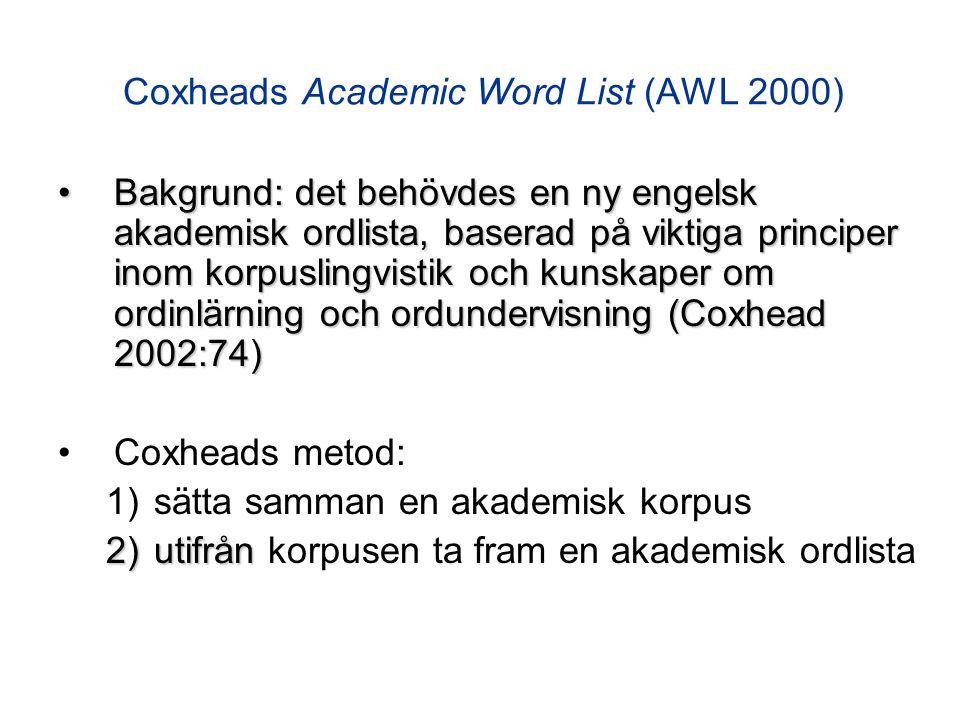 Coxheads Academic Word List (AWL 2000) Bakgrund: det behövdes en ny engelsk akademisk ordlista, baserad på viktiga principer inom korpuslingvistik och