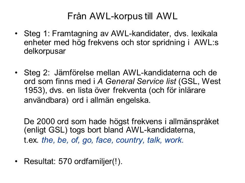 Från AWL-korpus till AWL Steg 1: Framtagning av AWL-kandidater, dvs. lexikala enheter med hög frekvens och stor spridning i AWL:s delkorpusar Steg 2: