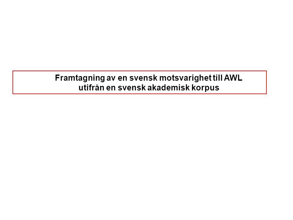 Framtagning av en svensk motsvarighet till AWL utifrån en svensk akademisk korpus