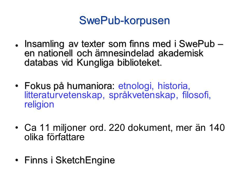 SwePub-korpusen ● Insamling av texter som finns med i SwePub – en nationell och ämnesindelad akademisk databas vid Kungliga biblioteket. Fokus på huma