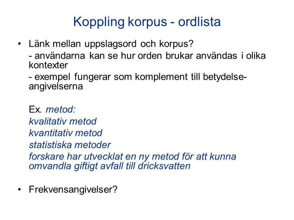 Koppling korpus - ordlista Länk mellan uppslagsord och korpus? - användarna kan se hur orden brukar användas i olika kontexter - exempel fungerar som