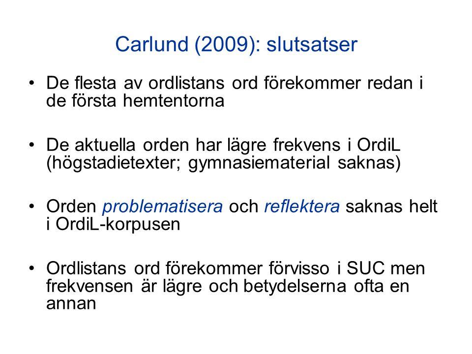 Carlund (2009): slutsatser De flesta av ordlistans ord förekommer redan i de första hemtentorna De aktuella orden har lägre frekvens i OrdiL (högstadi